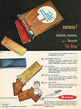 PUBLICITE ADVERTISING 044  1957  BRUN    nouveau..biscuit THE en cartouche