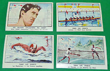 4 CHROMOS CHOCOLAT DE L'UNION 1950 TENNIS NATATION ALEX JANY AVIRON 8 BARREUR