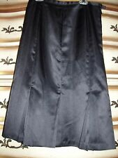 Black Satin-Like Pleated Midi Skirt size 4