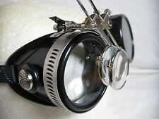 Pro Steampunk Safety Goggles Black Industrial Engineer Lab Chemist Glasses 7.5X2