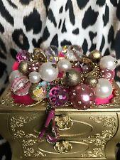 Betsey Johnson Vintage Varsity Crush Pom High Heel Heart Cluster Pearl Bracelet