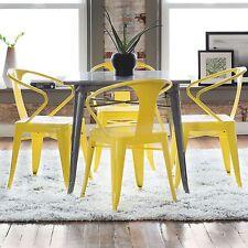 Set of 4 Metal Stacking Chairs Modern Lemon Yellow Dining Retro Vintage Kitchen