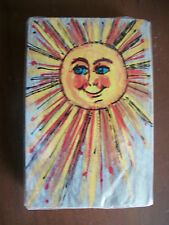 Vintage Sealed Playing Cards Deck Hand Drawn Smiling Sun Art Deco Yellow