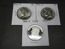 2016 P-D-S Clad Proof Kennedy Half Dollars (3 Coins) P&D from Mint Rolls