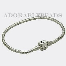 "Authentic Chamilia Silver Terrazzo Beaded Bracelet With Snap Lock 7.1"" 1015-0001"
