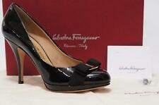 SALVATORE FERRAGAMO TINA BOW PLATFORM BLACK PATENT PUMP SHOES 10 $625