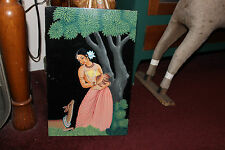 Vintage India Hinduism Acrylic Painting On Wood Board-Woman Deer Trees-LQQK
