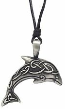 Pewter CELTIC KNOT DOLPHIN Pendant on Adjustable Black Cord Necklace Nickel Free