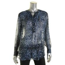 Two by Vince Camuto 5088 Womens Blue Sheer Printed Henley Top Blouse M BHFO