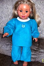 American Girl Clothes, Fleece Robin Egg Blue Top & Pants. Handmade