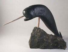 ORIGINAL INUIT SOAPSTONE CARVING OF A NARWHAL BY IKAMA