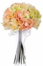 Hydrangea Rose Yellow and Peach Hand Tie Small - Silk Bridal Wedding Bouquet …