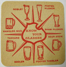 FALSTAFF BEER 1960's COASTER, Mat, KNOW YOUR GLASSES, Red, St. Louis, MISSOURI