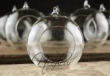 6 x  Hanging Clear Glass Bauble Tealight Candle Holder Christmas decoration  UK