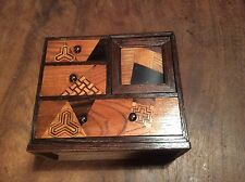 Small Antique Parquetry Box, Collectors Cabinet