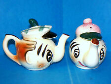Vintage Anthropomorphic Teapots Salt & Pepper Shakers Japan Marked W/ Stoppers