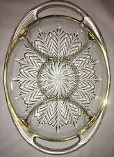 """Vintage Jeanette Clear Glass Platter With Handles & Gold Trim 15 1/2"""" X 11""""."""