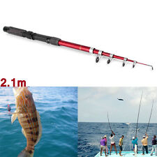 Portable Fishing Pole Tackle Carbon Fiber Spinning Lure Rod 2.1 m OE
