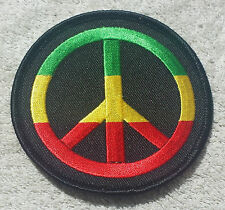 "RASTA PEACE SYMBOL PATCH 3"" Sign Cloth Badge/Emblem/Insignia Biker Jacket Bag"