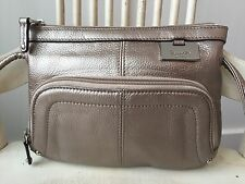 TIGNANELLO Metallic Small Leather Crossbody Shoulder Evening Bag Organizer EUC