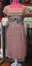 VTG 1940s 50s 1960s DESIGNER MOCHA LACE PIN UP WIGGLE COCTAIL PARTY DRESS XL 42