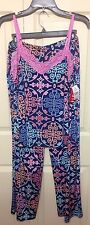 NWT JOSIE by NATORI TURKISH GATES PAJAMA SET TANK & PANTS NAVY MULT LARGE $88.00