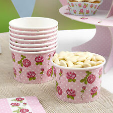 8 CANDY BUFFET BAR TREAT TUBS Ice Cream VINTAGE ROSE Roses Party Wedding Pink