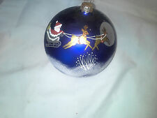 Jumbo Hand Painted Glass Ornament Santa with Reindeer and Sleigh