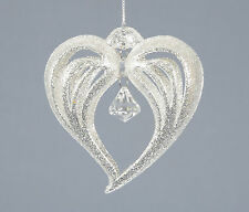 3 x Glitter Sparkle Heart Hanging decoration Christmas Tree Decorations