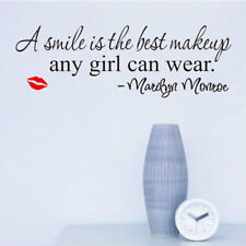 Smile Best Makeup Marilyn Monroe Quote Wall Poster Black Art Fashion Home Decal