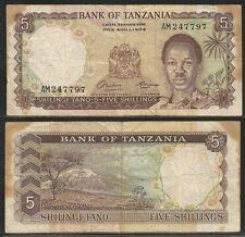 TANZANIA - 5 Shillings 1966 VF Pick 1a