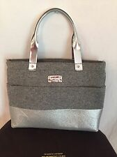 Kate Spade frosted felt gray large Quinn shopper tote - sparkly silver metallic