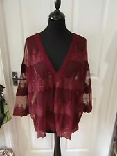 Size 18 V-Neck Top NWT by Next Red/Burgandy Sheer Embroidered Smart/Evening Wear
