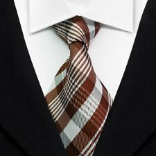New Classic Striped Ties Brown JACQUARD WOVEN Silk Men's Tie Necktie LT101