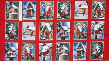 "24"" Fabric Panel - Windham Christmas Winter Cardinals Postcard Blocks Red"