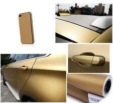 2X 125*30CM 3D Carbon Fiber Vinyl Car Wrapping Foil Carbon Sticker Decal Gold
