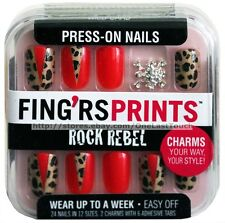 FING'RS PRINTS* 24 Press-On Nails WILD CARD Animal Print+Charms ROCK REBEL 1/2
