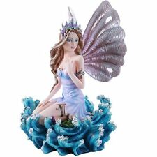 Ocean Secrets Sea Fairy With Sea Shell Wings Blue High Tide Waves Statue Queen
