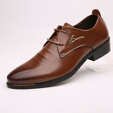 Men's Leather Shoes Fashion Oxfords Dress Formal Pointed Lace Up Size 6.5-10.5