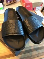 NIB Vince OLIVIA Black Leather 11M Slides Croco Pattern