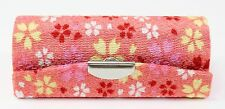 Cute Japanese Pink Sakura Flower Retro Lipstick Case Holder w Mirror Coin Box