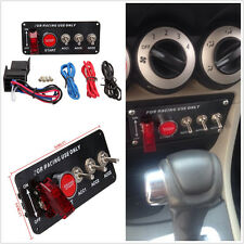 Car Ignition Switch Engine Start Push Button Racing LED 5in1 Toggle Carbon Panel