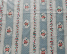 1YD Vintage Quilt Craft Fabric Shabby Pink Roses Blue White Stripe Chic Cottage