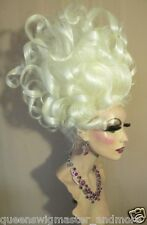 Drag Queen Wig Teased White Blonde Medusa Ursula Up Do Wild Curls French Twist