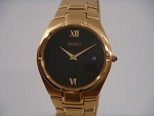 SEIKO DRESS BLACK DIAL DATE GOLD-TONE STAINLESS STEEL MEN'S WATCH SKP294 NEW