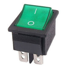 Green Light 4 Pin DPST ON/OFF Snap in Boat Rocker Switch 16A/250V 15A/125V AC M9