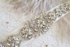 Bridal beaded crystal, pearl sash, Rhinestone applique wedding belt for Dress