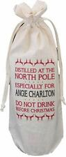 PERSONALISED - DISTILLED AT THE NORTH POLE - COTTON CHRISTMAS WINE BOTTLE BAG