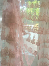 Pink Window Curtain Drape Vintage Layered Bridal Veil Lace Panel Chic More Avail