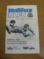 12/11/1978 Rugby League Programme: Halifax v Hull  (folded, marked). Condition:
